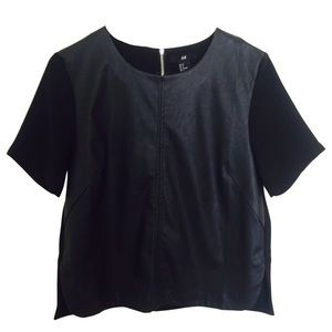 H&M Black Leather Short Sleeve Top With Solid Back